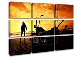 harley davidson sunset modern 9 panel canvas 9 panel set canvas regarding harley davidson wall art