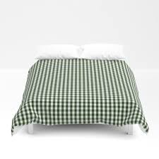 small dark forest green and white gingham check duvet cover