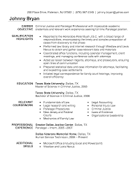 Sample Paralegal Resume Objectives Objective Resume Criminal Justice httpwwwresumecareer 1