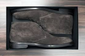 brown shoes in box close up