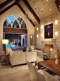 Lighting For Living Room Vaulted Ceilings Cathedral Ceiling Living Room Spacious Beige White Cow Fabric Rug