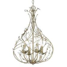 sorpresa collection 4 light gilded pewter pendant with crystal glass accents