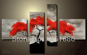 hand painted abstract modern pine tree landscape painting 4 piece canvas art grey black and red wall decor pictures living room on grey red wall art with modern abstract 3 panel wall pictures tree canvas art hand painted