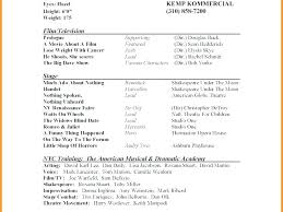 Theatre Resume Simple Talent Resume Template Theatre Resume E Word Theater Actors Format