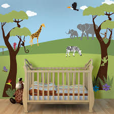 Safari Bedroom For Adults Tree Mural Jungle Wall Stencils For Baby Nursery Wall Mural