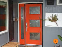 Modern Therma-Tru Smooth Star Pulse Ari S2XR Single Fiberglass exterior door  with sidelight.