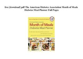 Diabetic Meal Planner Free Free Download Pdf The American Diabetes Association Month