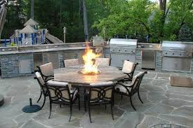 Outdoor Kitchen with Fire Pit Table Traditional Patio DC