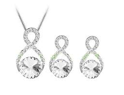 infinity necklace white gold. 18ct white gold plated infinity necklace \u0026 earrings set
