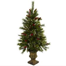 Christmas Tree Cone With Lights 4 Christmas Tree W Berries Pine Cones Led Lights Decorative Urn
