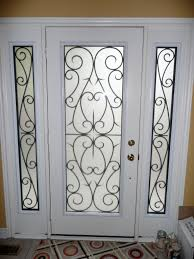 white wooden frame painted with white color for single glass front doors with black iron decor ideas
