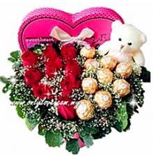 rose with ferrero rocher gift box