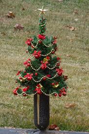 Cemetery Christmas Tree With Lights Cemetery Vase Christmas Tree Grave Flowers Cemetary