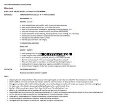 Tv Production Resume Examples Tv Production Assistant Resume Sample Resume Builder