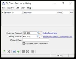 Gl Chart Of Accounts Chart Of Accounts Listing