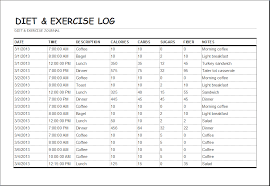 Food And Exercise Trackers Diet And Exercise Log Template Word Excel Templates