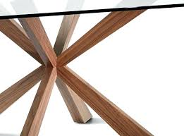 modern glass top dining table with a walnut base by images full size