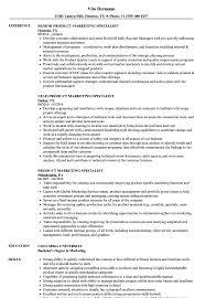 Product Marketing Specialist Resume Samples Velvet Jobs