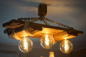 wooden chandelier ceiling lamp edison bulbs included