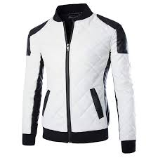 slim plaid leather mens er jacket black white