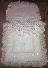 Pram quilt set, white with white U-shaped trim, £21. | baby ... & COACH PRAM BEDDING SET for Silver Cross Kensington Balmoral - Broderie  Anglaise Adamdwight.com