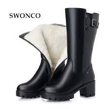 <b>SWONCO</b> Women's High <b>Boots</b> 2018 <b>Winter</b> Genuine Leather ...