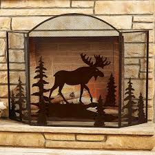 moose fireplace screen a black forest decor exclusive a metal art moose wanders through dimensional pine trees on the metal mesh three panel moose