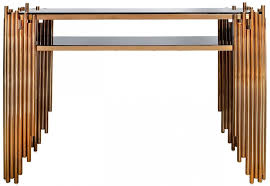 gold console table. Burgio Rose Gold Metal And Glass Console Table R
