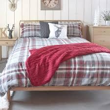 gallery skye check super king brushed cotton duvet cover set grey red prev next zoom