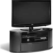 Tv Stand Black Discreet Feet To Protect Floor Coverings Full Cable Management
