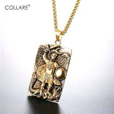 st michael necklace gold pendants men tags black color jewelry stainless steel archangel marine corps