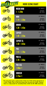Bmx Size Chart Events 217270