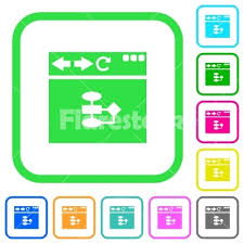 Browser Flow Chart Vivid Colored Flat Icons Stock Vector