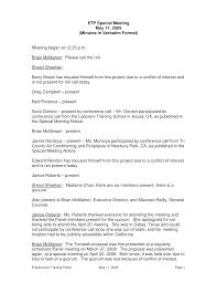 Minutes Sample Format Special Meeting Minutes Verbatim Format Templates At