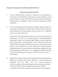 elc sample of an argument and the written analysis for students elc501 sample of an argument and the written analysis for students corporal punishment in the home punishments