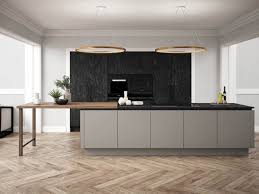 daval langham slate in a grey and black kitchen with wood parquet floor and wood worktop