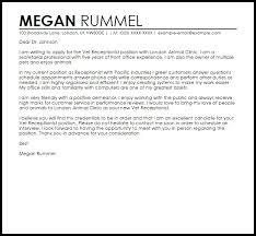 Vet Re Popular Veterinary Receptionist Cover Letter Resume Cover