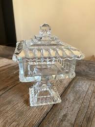 vintage cut glass candy dish with lid