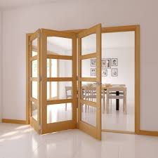 4 Panel 4 Lite Oak Veneer Glazed Internal Folding Door, (H)2035mm (W)2146mm  | Departments | DIY at B&Q