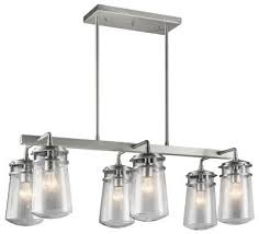 kichler canada lyndon six light outdoor linear chandelier brushed aluminum