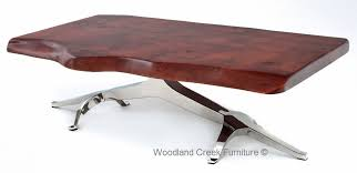exotic wood coffee table soft modern cocktail with live edge