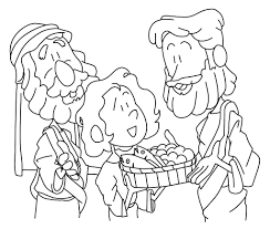 Jesus Feeds 5000 Coloring Page Free