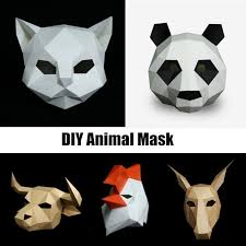 details about diy paper mask animal head creative party pulp costume cosplay masquerade funny
