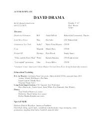 Free Actor Resume Template Example Of Acting Resume Theatre Resume