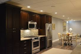 basement kitchen designs. Basement Kitchen Dark Wood Stainless Steel Appliances Recess Lighting Optimized.jpg Designs