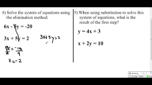 system of equations unit test 4 review sheet