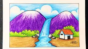 Cách vẽ tranh đề tài PHONG CẢNH THÁC NƯỚC tuyệt đẹp | how to draw topic  waterfall very easy - Hướng dẫn vẽ tranh đơn giản nhanh chóng - Kho kiến  thức