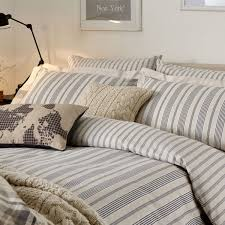 charcoal grey striped bedding  oakley bed linen at bedeck