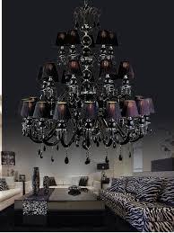 led 3 layer 30 light black crystal chandelier led kroonluchter vintage chandelier crystal lamp traditional candle holder lights lampshades