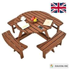 garden 8 seater wooden pub bench round picnic table furniture with parasol hole